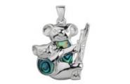 Sterling Silver Paua Shell Jewellery Pendant Koala Bear with baby