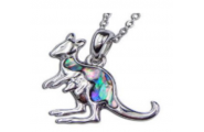 Paua Shell Jewellery – Imitation Rhodium – Pendant Kangaroo with baby