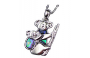 Paua Shell Jewellery –Imitation Rhodium- Pendant Koala Bear with baby.