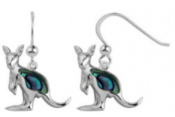 Sterling Silver Paua Shell Jewellery Earring Kangaroo