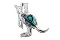 Sterling Silver Paua Shell Jewellery - Pendant Kangaroo