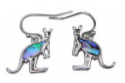 Paua Shell Jewellery –Imitation Rhodium –Earring Kangaroo