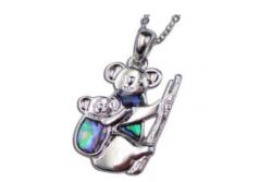Paua Shell Jewellery –Imitation Rhodium- Pendant Koala Bear with baby.