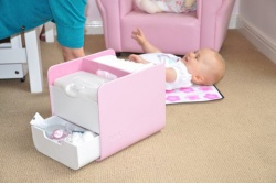 pink nappy caddy
