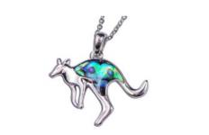 Paua Shell Jewellery-Imitation Rhodium – Pendant Kangaroo
